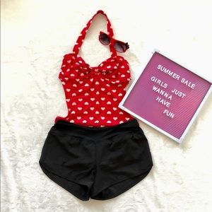 One-piece Swimsuit Red with White Hearts